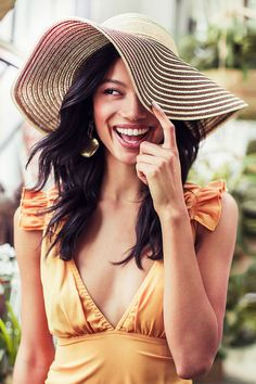 Stripes and Bows Wide Brim Floppy Hat