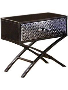 Furniture of America Nervus Nightstand with Metallic Face Drawer, Gun Metal Finish ❤ Furniture of America