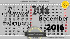Calendar template 2016 - monthly/CU by Graphic Creations
