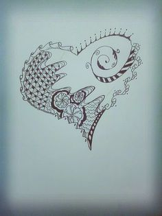 heart doodle using Zentangle patterns.