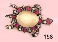 Edwardian Brooch, Natural pearl, ruby, diamond and gold turtle brooch. Nelson Rarities, Inc., Portland, Maine