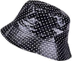 Packable Waterproof Bucket Hat Polka Dot Wide Brim Rain Hats For Women  Girls - Black - CR1884LLSI8 058c9b5fd968