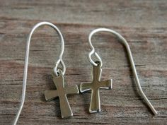 Titanium Earrings Stainless Steel Cross on by AliCsCreations, $12.50