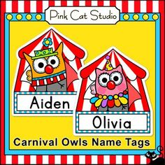Carnival Owls Name Tags and Labels by Pink Cat Studio: Add some fun to your classroom walls and bulletin boards with these fun owl theme name tags and editable labels. Circus Theme Classroom, Owl Classroom, Classroom Decor, Classroom Organization, Classroom Management, Classroom Name Tags, Classroom Labels, Student Name Tags, Carnival Themes
