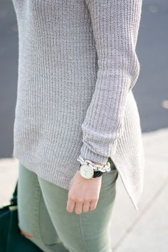 Olive jeans, olive denim, ripped denim, Target, target style, Mossimo, cozy sweater, cozy sweater for fall, comfy sweater, taupe, Nordstrom, Nordstrom style, forest green, monogram, BaubleBar, marble monogram, Kate Spade, link bracelet, chain link, Lucky Brand, slingback booties, fall outfit, fall style, what to wear on Thanksgiving, Thanksgiving outfit, 2016 Thanksgiving style, casual Thanksgiving look // Emillion Thoughts