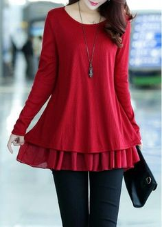 Bowknot Decorated Red Faux Two Piece Sweater