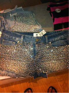 ☮✿★ Victoria's Secret ✝☯★☮ Just glue on small sequins to shorts!