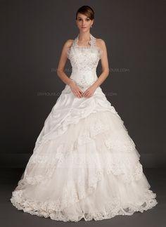 Ball-Gown Halter Chapel Train Taffeta Organza Wedding Dress With Lace Beading (002015494) - JJsHouse