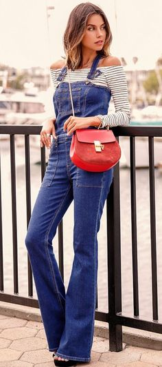 #summer #cute #outfits |Stripe Off The Shoulder Top + Overalls