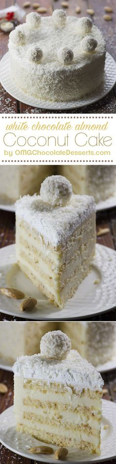 Almond Coconut Cake - delicious blend of almond, coconut, white chocolate and lemon flavors | http://OMGChocolateDesserts.com