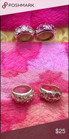 Fashion Rings Fashion Rings Gold Plated Come with 2 Rings White Diamond & Pink Diamond Still New ! Size 8 Jewelry Rings
