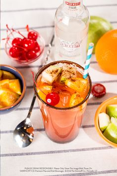 Get your taste buds rolling with this Smirnoff Ice Original Preparada! Fill glass halfway with ice. Add chopped apples and oranges. Flavor with some chili lime seasoning and chamoy to your taste. Pour one (11.20z) bottle of Smirnoff Ice® Original. Top it all off with some maraschino cherries.