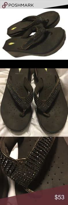 Volatile leather Rhinestone Embellished Metallic RHINESTONE EMBELLISHED SANDAL  - Heel Height: approx 2 1/2 inches  - Jewel embellished leather upper  - Thong style construction  - Soft ethylene vinyl -- Copper / Brown Never worn Volatile Shoes Sandals