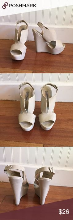 Steve Madden Creme high heels!! Great condition. These high heels are so cute but too small for me. I wore them once in high school and then never again because i grew out of them. They have a tiny scuff on the front of one shoe, but no other flaws! They're in great condition. Ask me if you have any questions! :) Steve Madden Shoes Heels