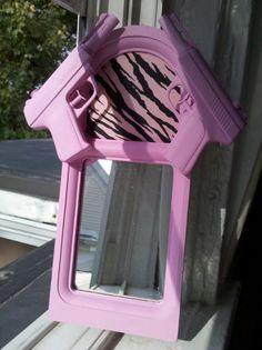 Pink gun zebra mirror by CheeseCrafty on Etsy, $23.00