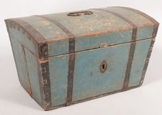 """Blue Painted Metal Banded Small Wood Trunk. Trapezoidal.  Possibly Continental. Trunk is locked, missing key. 10-1/4""""h.x17-5/8""""w.x11-1/2""""d. : Lot 690 Conestoga Auction 3/9/13.  Sold for $200"""