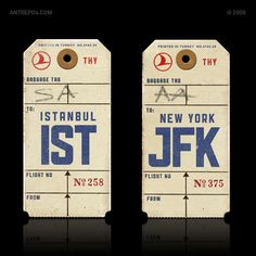 interface inspiration / luggage tags