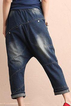 Minibee Women's Drop Crotch Casual Jean Pants Style 1 Blue