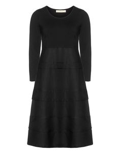 Isolde Roth - Langarm-Materialmix-Kleid  in Schwarz