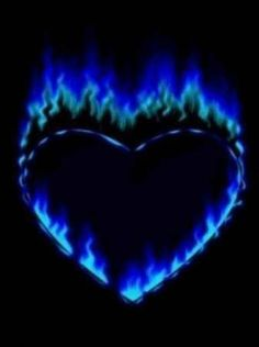 Blue flaming heart