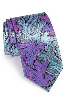 Ermenegildo Zegna 'Quindici' Print Silk Tie | Nordstrom -- The red/blue is also very pretty and dramatic