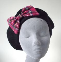 97f3585550d9 Black Beret Hat with Hot Pink Tartan Bow £22.00 Black Berets, Tartan, Hot