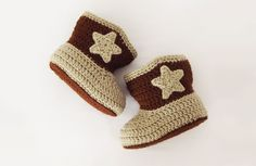 FREE Crochet Pattern: Baby Cowboy Booties. A wonderful way to clothe your little cowboys, or cowgirls, feet. Visit www.projectarian.com and download your free pattern now.