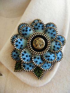 Felt and zipper  flower brooch by woollyfabulous on Etsy