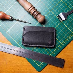 Working place, instruments for handmade and minimalist wallet #AkLeather