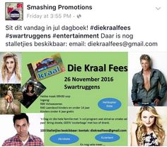 #entertainment #liveentertainment #shows #artists #smashingpromotions #onstage #bookings #events #live For info or to book artists for your next event contact: info@smashingpromotions.co.za 26 November, Promotion, Entertainment, Events, Artists, Live, Books, Libros, Book