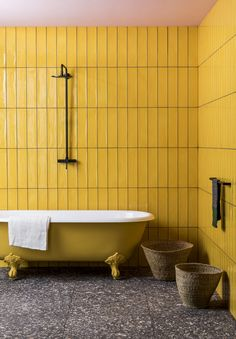 The Terrazzo tile is perfect for nodding to the hottest new interior design trend. Buy the Terrazzo Nouveau Graphite Matt Porcelain Tile at Mandarin Stone. Retro Bathrooms, Yellow Bathrooms, Modern Bathroom, Minimal Bathroom, Mandarin Stone, Terrazzo Tile, Tiling, Tile Floor, Large Format Tile