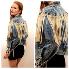 Vintage Acid Washed Fringe Denim Jacket by rumors on Etsy, $78.00