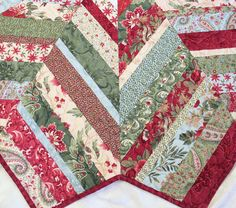 Christmas Tree Skirt Quilt Moda Sentiments by QuiltSewPieceful Christmas Fabric, Christmas Tree, Christmas Ideas, Longarm Quilting, Machine Quilting, Different Fabrics, Warm Colors, Tree Skirts, Swirls