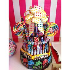 See more party ideas at CatchMyParty.c… - Shopkins Party Ideas Candy Arrangements, Candy Centerpieces, Birthday Party Centerpieces, Centerpiece Ideas, Candy Birthday Cakes, Candy Cakes, Candy Gift Baskets, Candy Gifts, Cute Birthday Gift