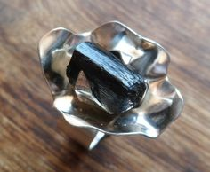 Rough black tourmaline and sterling silver flower ring. by Unics, $66.00