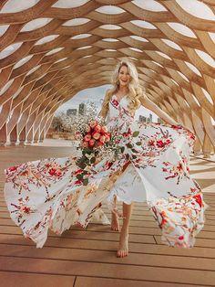 Bohemia Floral V-Neck Waisted Maxi Dress