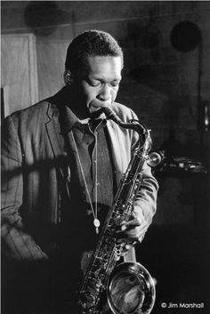 """Jim Marshall John Coltrane, """"Ballads"""" Recording Session, Rudy Van Gelder's Studio, New Jersey 1963 """"You can play a shoestring if you're sincere."""" John Coltrane"""