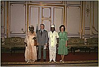 Mrs. William Tolbert, Jimmy Carter, President William Tolbert and Rosalynn Carter pose for photographers during the Carter's state visit to Liberia., 04/03/1978
