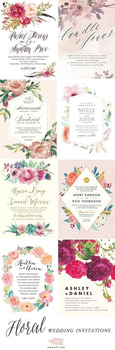 The perfect floral wedding invitations for spring and summer weddings. Find gorgeous wedding invites at elli.com and customize with colors, fonts, and more!