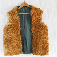 Fur Vest Vintage Curly Brown Bohemian by HazeyJaneVintage
