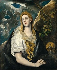 """El Greco """"Mary Magdalene in Penitence"""", 1585 (Greece / Spain, Late Renaissance / Mannerism, 16th cent.)"""