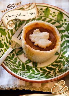 Mini Thanksgiving Pie Recipes {Pumpkin + Pecan} http://hwtm.me/UJseid