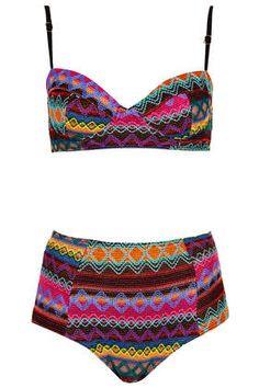 Multicolour Embroidered Aztec Bikini - Swimwear  - Clothing