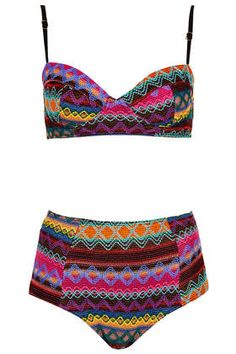 NEED this in a size 6... Multicolour Embroidered Aztec Bikini - Swimwear  - Clothing #TopShop