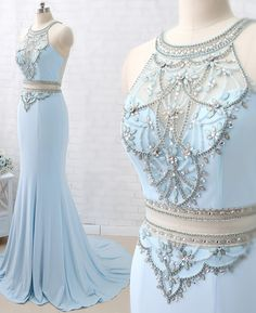 Luxury Two Piece Light Blue Mermaid Prom Dress,Crystal Beaded Evening gowns sold by KProm. Shop more products from KProm on Storenvy, the home of independent small businesses all over the world. Classy Evening Gowns, Beaded Evening Gowns, Blue Mermaid Prom Dress, Mermaid Skirt, Best Formal Dresses, Short Dresses, Dress Formal, Thranduil, Tulle Ball Gown