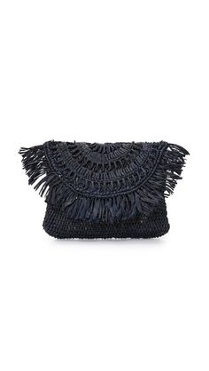 Fringe accents the top flap of this straw Mar Y Sol clutch. Fringe Handbags, Fringe Purse, Straw Handbags, Navy Blue Clutch, Navy Blue Handbags, Handbag Accessories, Jewelry Accessories, Crossbody Bag, Pouch