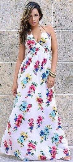 #summer #sensual #chic #outfits |  White Floral Maxi Dress