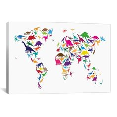 iCanvas Michael Thompsett Dinosaur Map Of The World Map II Canvas Print Wall Art