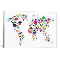iCanvas Michael Thompsett Dinosaur Map Of The World Map II Canvas Print Wall Art
