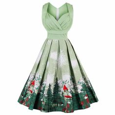 Product Description: Buy women's vintage style green tree print summer party dress with short sleeveless by PesciModa Details: Gender: Women, Dresses Length: Knee-Length, Neckline: V-Neck, Silhouette: A-Line, Style: Vintage, Waistline: Empire, Material: Polyester,Cotton, Sleeve Style: Tank, Sleeve Length(cm): Sleeveless, Decoration: None, Pattern Type: Print, Petticoat : None